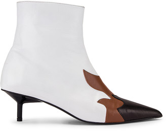 Marques Almeida Marques ' Almeida Pointy Kitten Heel Flame Boot in White, Brown & Black | FWRD