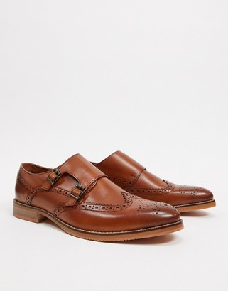ASOS DESIGN monk shoes in tan leather with natural sole