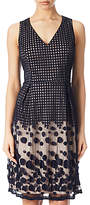 Adrianna Papell Pleated Plaid Dot Fit And Flare Dress, Navy/Pink