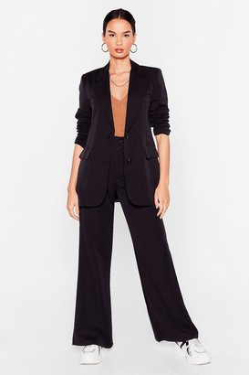 Nasty Gal Womens Let's Make It Work High-Waisted Wide-Leg Pants - Black