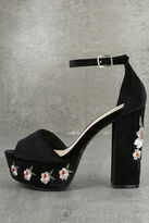 Qupid Abella Black Velvet Embroidered Platform Heels