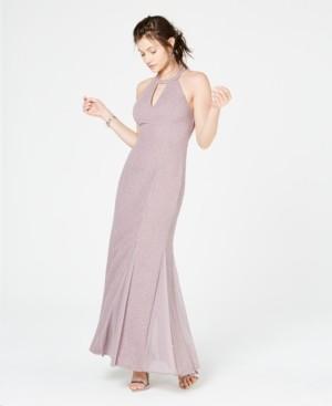 Night Way Nightway Glitter-Knit Teardrop Petite Gown