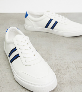 ASOS DESIGN Wide Fit trainers in white with side stripe