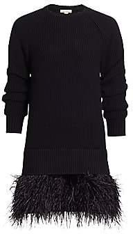 Michael Kors Women's Feather-Hem Cashmere Shaker-Knit Sweaterdress
