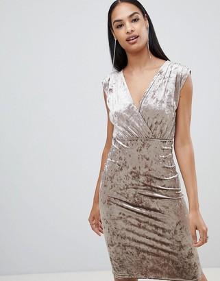 Rare London velvet wrap midi dress