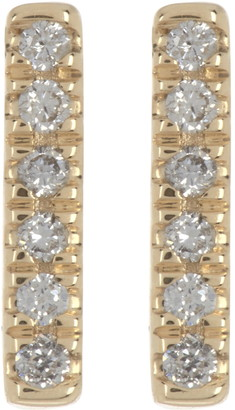 Adornia Fine 14K Yellow Gold Mini Pave Diamond Bar Stud Earrings - 0.1 ctw