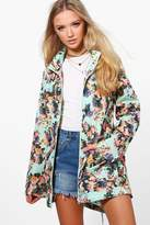 Boohoo Eleanor Floral Mac With Detachable Hood mint