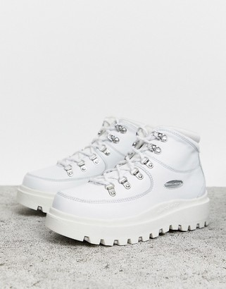 Skechers Shindig 6 eye Leather Hiker Boot-White