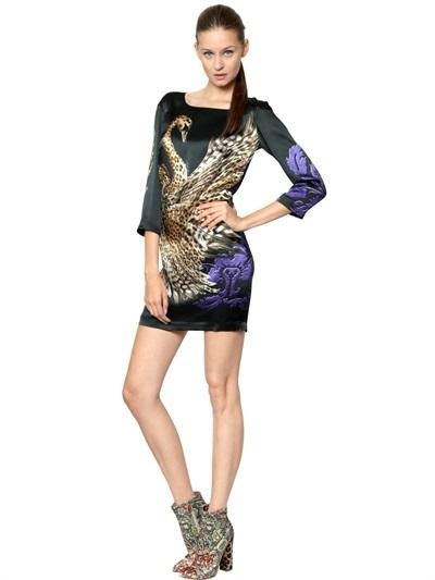 Just Cavalli Printed Satin Dress