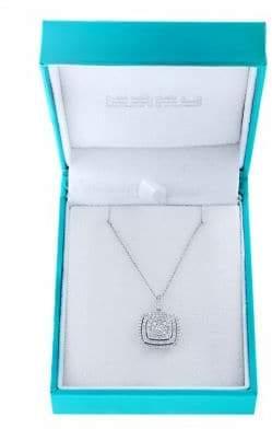 Effy Super Buy 14K White Gold and Diamond Square Pendant Necklace