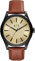 Armani Exchange A|X Men's Nico Dark Brown Leather Strap Watch 44mm AX2329