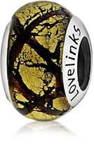 Lovelinks 925 Sterling Silver Metallic Yellow with Criss Cross Stripes Murano Glass Bead