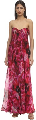 Alexander McQueen Flower Print Corset Long Dress