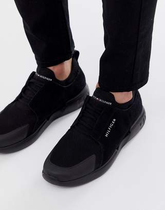 Tommy Hilfiger logo suede mesh mix trainers in black