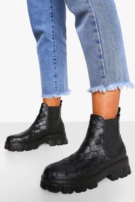 boohoo Woven Chunky Platform Chelsea Boots