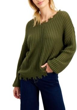 Cloud Chaser Juniors' Bar-Back Destructed Sweater