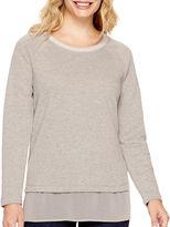 Liz Claiborne Long-Sleeve Chiffon-Trim Sweatshirt - Petite