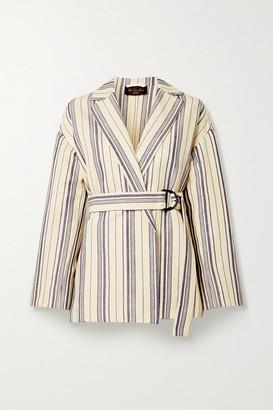 Loro Piana Belted Striped Cotton-blend Jacket - Ecru