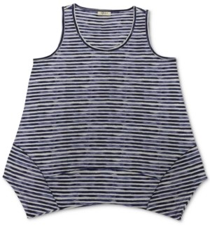 Style&Co. Style & Co Striped Handkerchief-Hem Tank Top, Created for Macy's