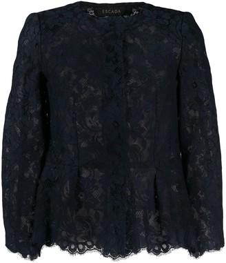 Escada Silk Floral-Lace Blouse