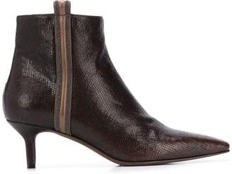 Brunello Cucinelli Crocodile-Effect Pointed Boots