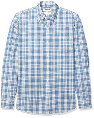 Goodthreads Men's Slim-Fit Long-Sleeve Plaid Chambray Shirt