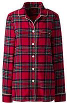 Classic Women's Flannel Sleep Top-Ivory/Radiant Navy Stripe