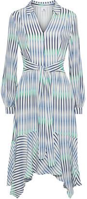 Iris & Ink Rosemary Asymmetric Degrade Striped Crepe Dress