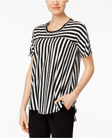 NY Collection Petite Striped High-Low Top