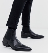 Asos Design DESIGN Wide Fit cuban heel western boots in black faux leather