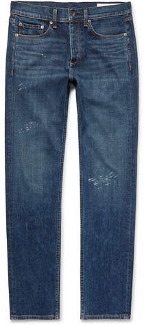 Rag & Bone Fit 2 Slim-Fit Distressed Stretch-Denim Jeans