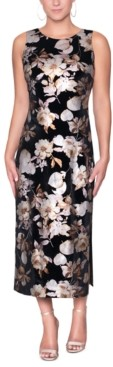 Christian Siriano New York Foil-Print Cutout-Back Midi Dress