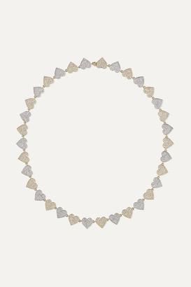 Sydney Evan Eternity Heart 14-karat Yellow And White Gold Diamond Necklace - one size