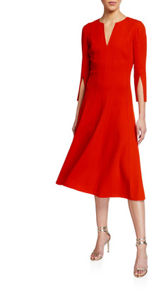 Oscar de la Renta Plisse V-Neck 3/4-Sleeve Midi Dress