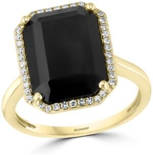 Effy Diamond (1/6 ct. t.w.) & Onyx (14 x 10mm) Statement Ring In 14k Gold