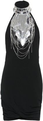 Balmain Embellished stretch-crepe minidress