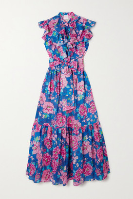 Loretta Caponi - Paola Belted Ruffled Tiered Floral-print Cotton-voile Midi Dress - Blue