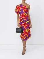 Rosie Assoulin One-shoulder ruched printed midi dress