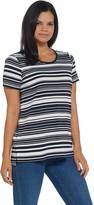 Martha Stewart Varigate Stripe Short Sleeve Ponte Knit Tunic