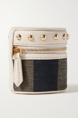 Fendi Studded Leather And Canvas Pouch - Beige
