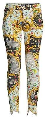 Versace Women's Lady Trouser Distressed Chewed Hem Skinny Jeans