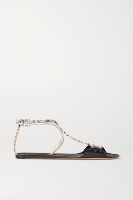 Chloé Carla Paneled Leather Sandals - Black