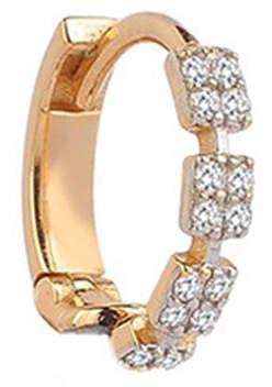 Kismet by Milka 14k Rose Gold Square Diamond Hoop Earring (Single)