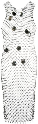 Loulou All-Over Mesh Studded Detail Dress