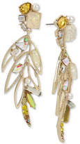 Betsey Johnson Gold-Tone Multi-Stone & Imitation Pearl Feather Drop Earrings