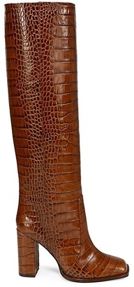 Paris Texas Square-Toe Knee-High Croc-Embossed Leather Boots