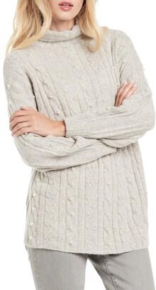 Nic+Zoe Majestic Beaded Cable Knit Metallic Turtleneck Sweater