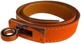 Hermã ̈S HermAs Kelly Double Tour Orange Leather Bracelets