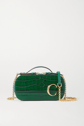 Chloé C Vanity Mini Croc-effect Leather Shoulder Bag - Green