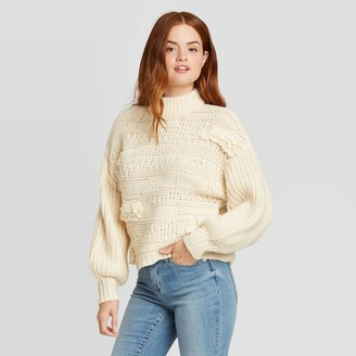 Universal Thread Women's Mock Turtleneck Fringe Pullover Sweater - Universal ThreadTM
